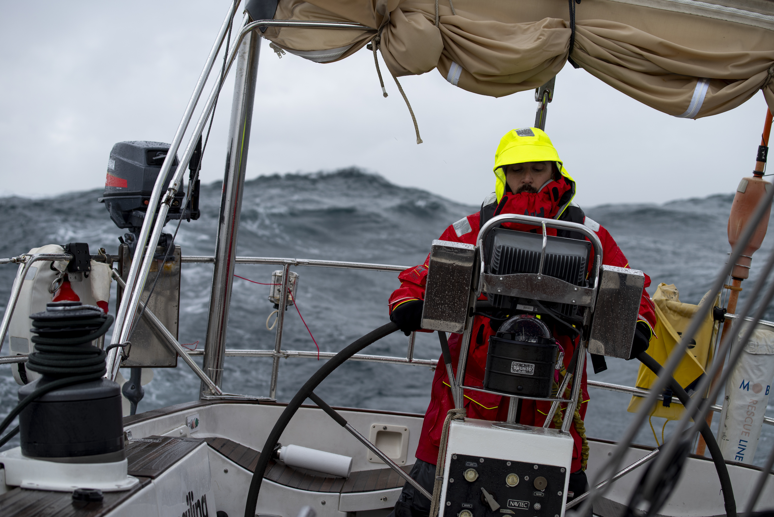 Mark at the helm at the height of the southwesterly, winds 35-40, heavy rain and 8-10' seas.