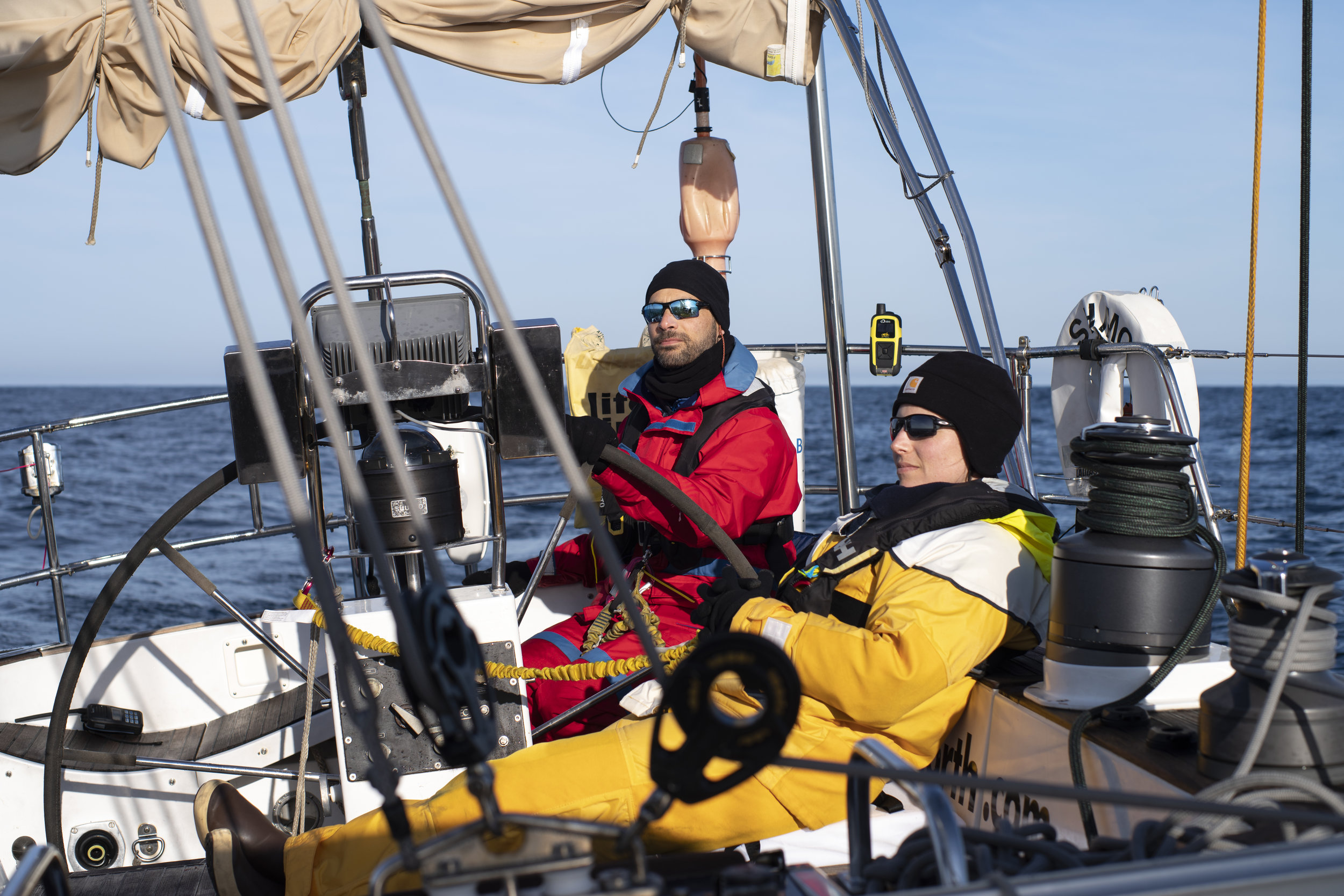 Ben & Lauren, ICEBEAR crew and creator of the new '   Out the Gate' sailing podcast   , enjoying the crisp morning.