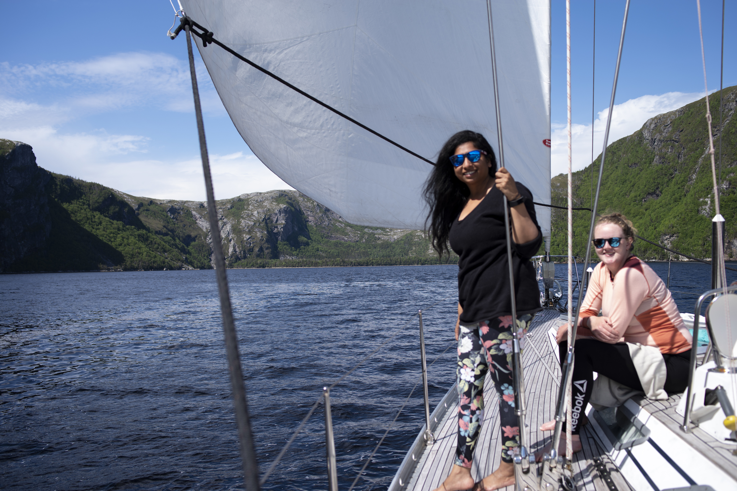 Richa (L) and Liz (R) on bow watch as we sailed into the fjord.