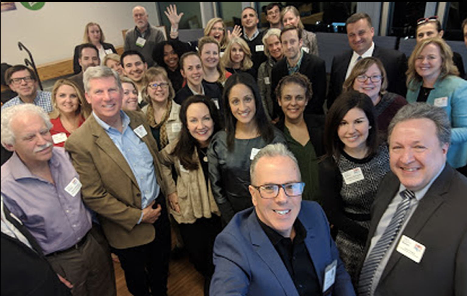 "- This ""group selfie"" was taken at the conclusion of a panel discussion that Jim Panagas (front row, right) moderated for AMA Boston and PRSA Boston. The event took place in March 2019 and focused on the changing relationship between CMO's and digital marketing agencies."
