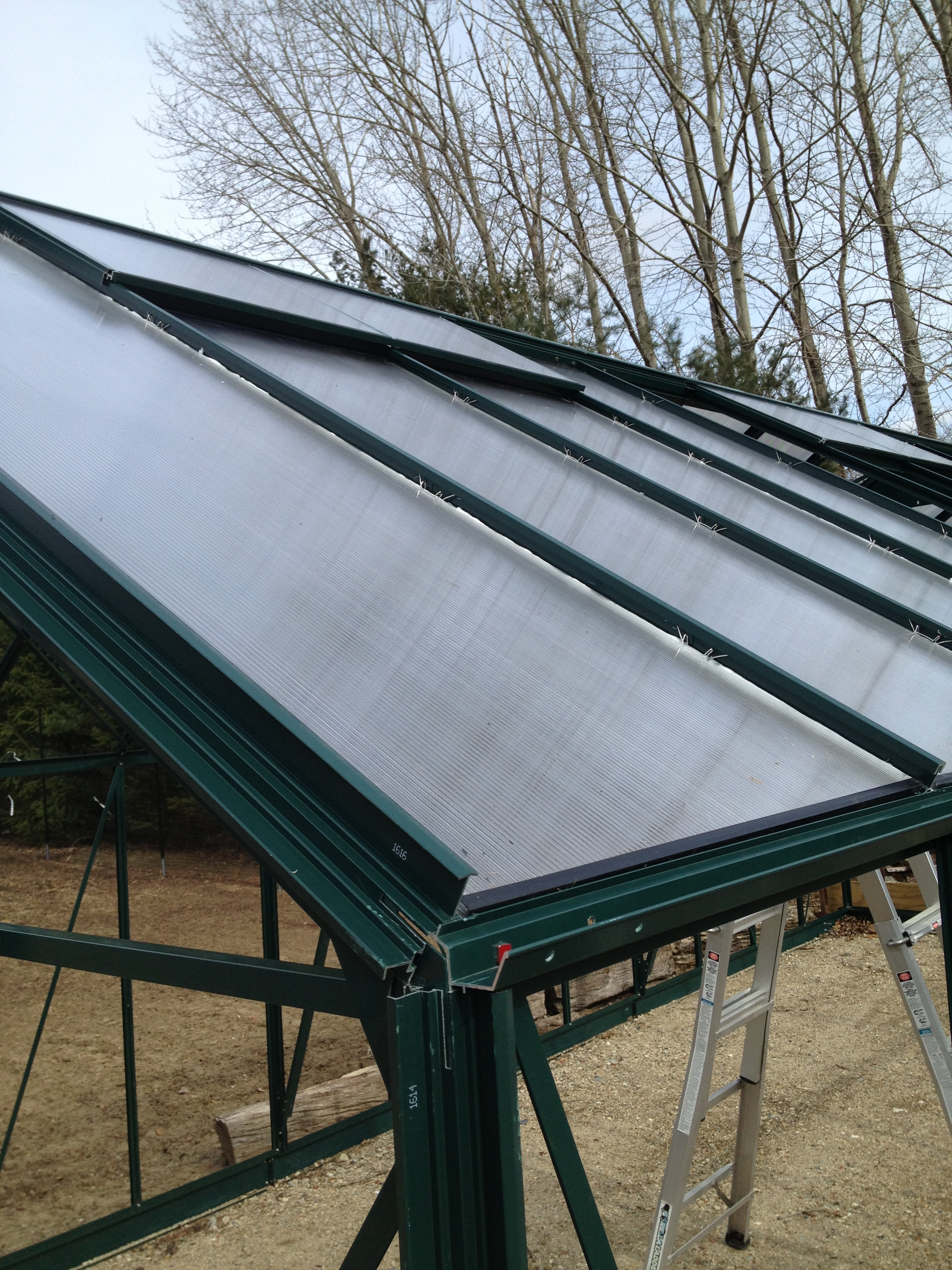 Some of the panels being placed on the greenhouse roof. They are plastic which is much safer with all of our tall trees around.