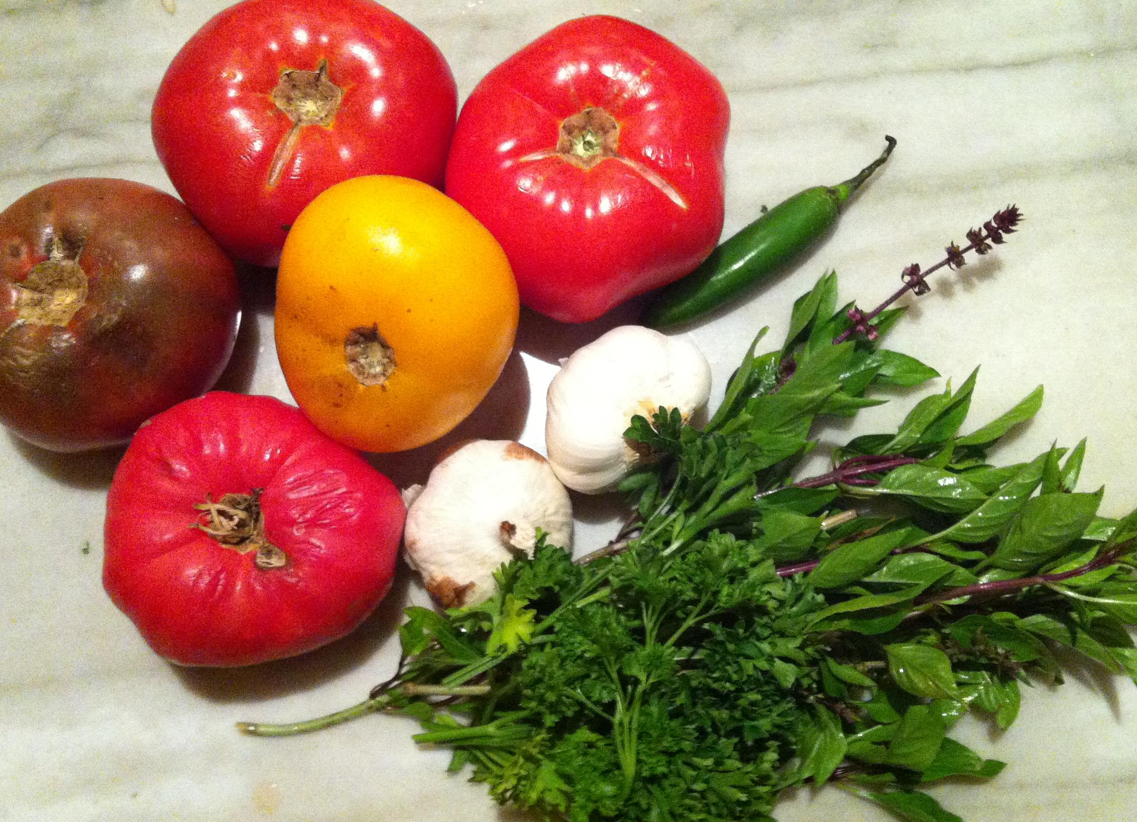 Ingredients! Tomatoes, garlic, serrano chili, thai basil and parsley (shallots are missing from this photo)