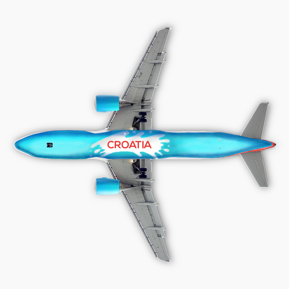"""The belly of the plane, like it's predecessor, is painted in a contrasting color. Intentionally swaying away from the blue found in the Croatian flag, this tone is meant to resemble the turquoise waters of the Adriatic, which represents strongly the country, in terms of tourism but also natural beauty. The middle is a """"splash"""" in which Croatia is display, to be visible from the ground."""