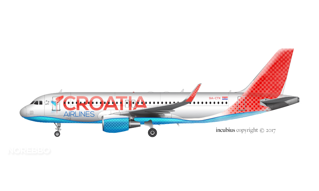 New livery proposal for Croatia Airlines Copyright 2017 incubius Vieran Hodko