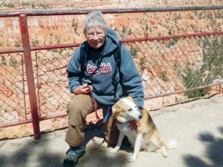 California hiker Sue Duggins takes her dog Casey on the few paved and pet-friendly trails in Bryce Canyon and Zion National Park, but the duo does most of its hiking in state and BLM parks.
