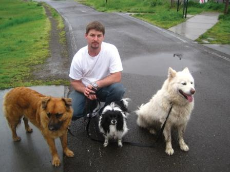 Ryan with Milo, Berry and Charlie.