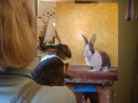 Lorraine Bushek has worked with rabbits for almost 20 years. She is also an accomplished painter who captures her love of these charming creatures in her oil paintings.
