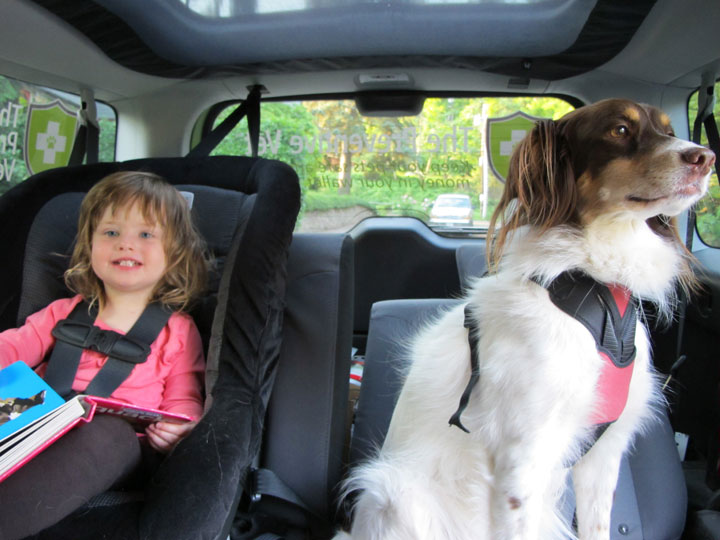 Dr. Nicholas' daughter Lotte and Wendy buckled up for a ride