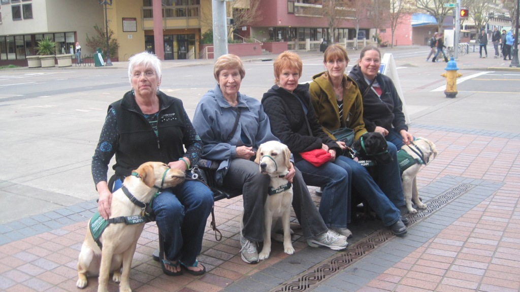 Left to right: Pam and Ion, Louise and Florida, Jan, Marcia and Victoria, and Sue and Yule.