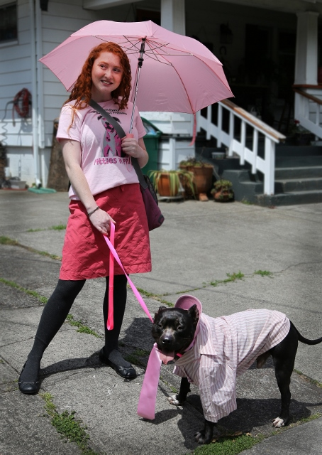 """MCAS volunteer Molly with a """"Pittie in Pink""""."""