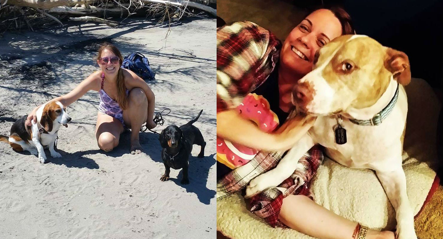 Board members Christy and Rachel with their beloved dogs
