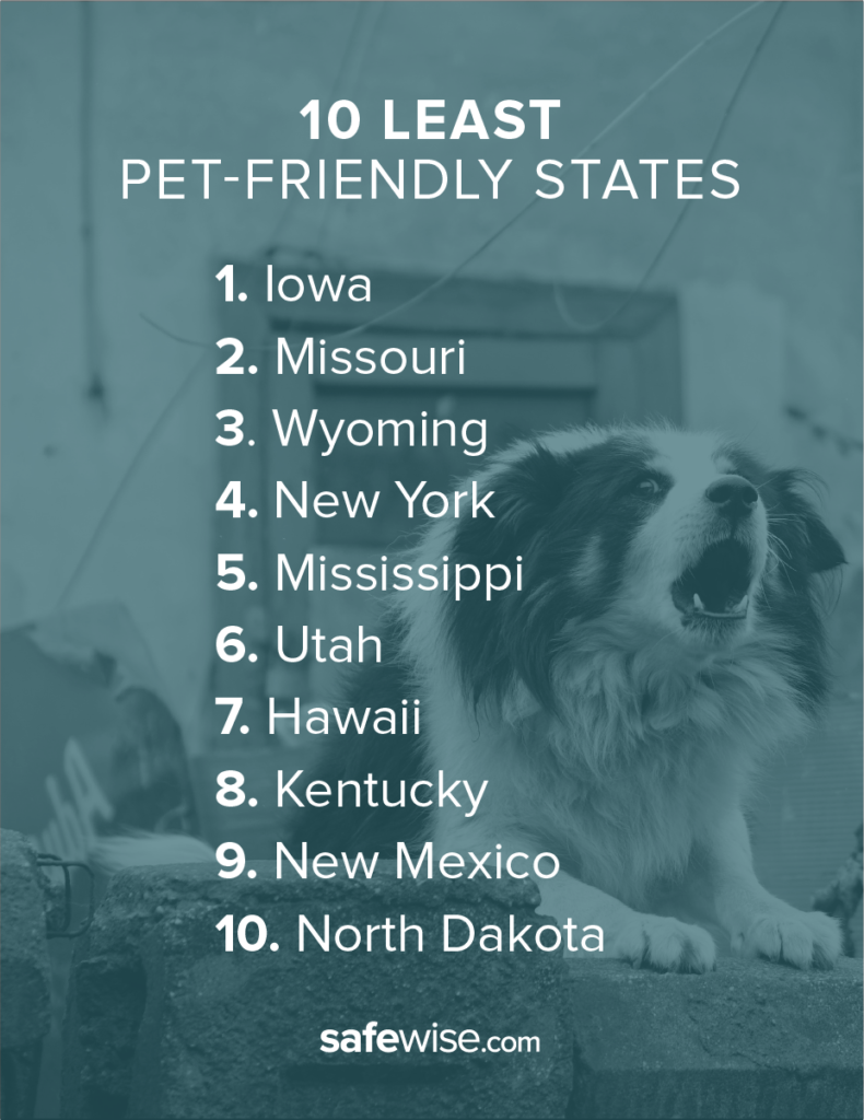 Iowa's weak animal protection laws and high number of puppy mills earned it the lowest ranking among all states.