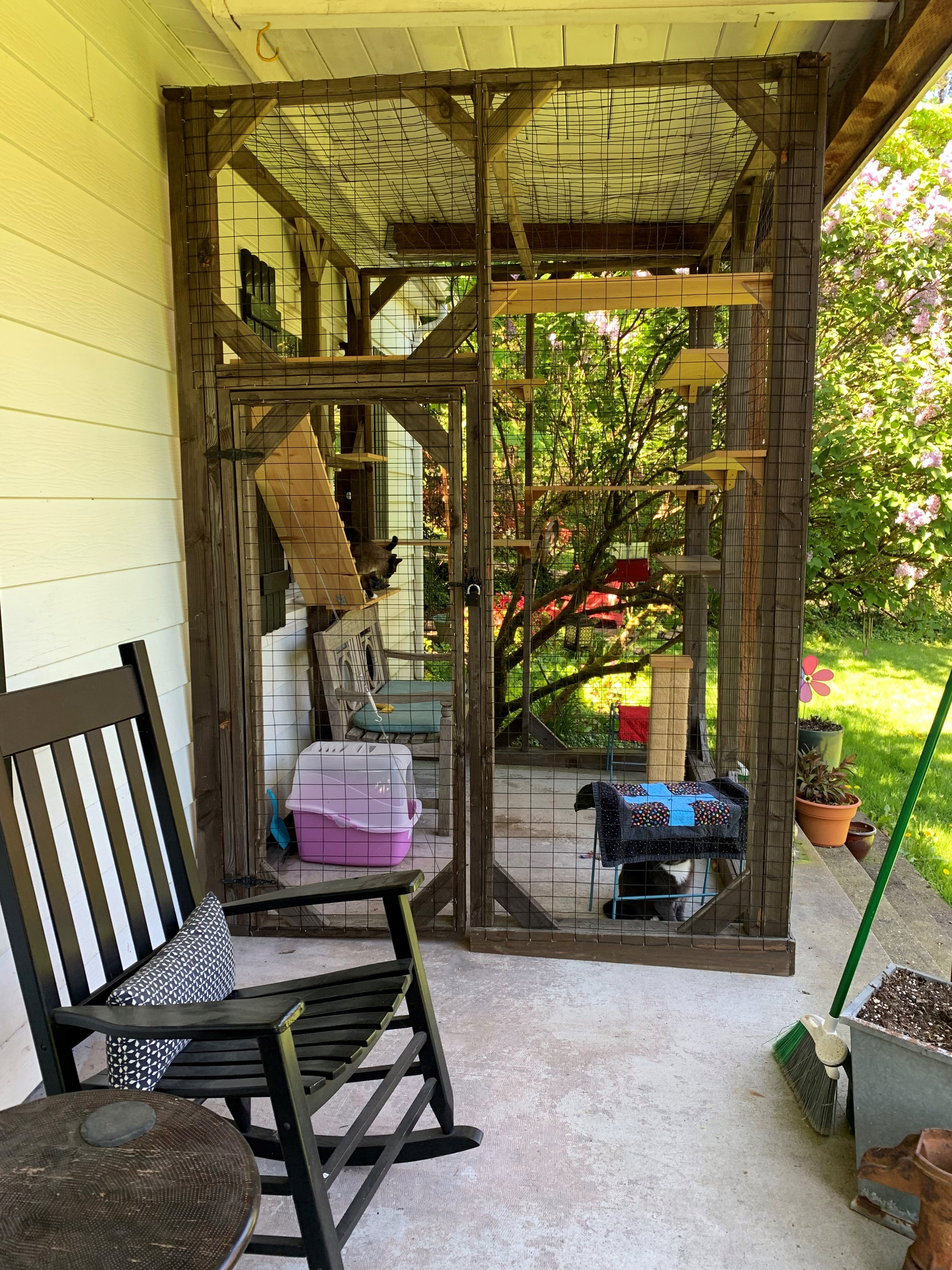 The Weisenberger catio used the existing overhang of a porch. They look forward to expanding their catio even more this summer.