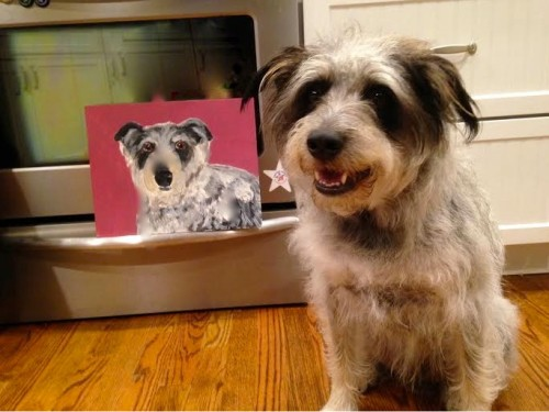 Pet parents commission the artist to create portraits. Funds support the Wags 4 Hope mission of educating people to prevent heartworm disease.