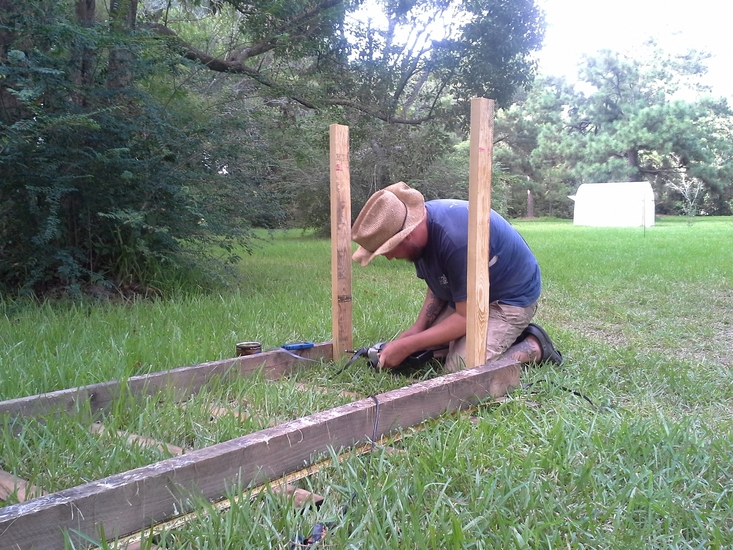 """McFarmer builds another transplant table for the little transplants to """"harden off"""" on before going into the fields."""