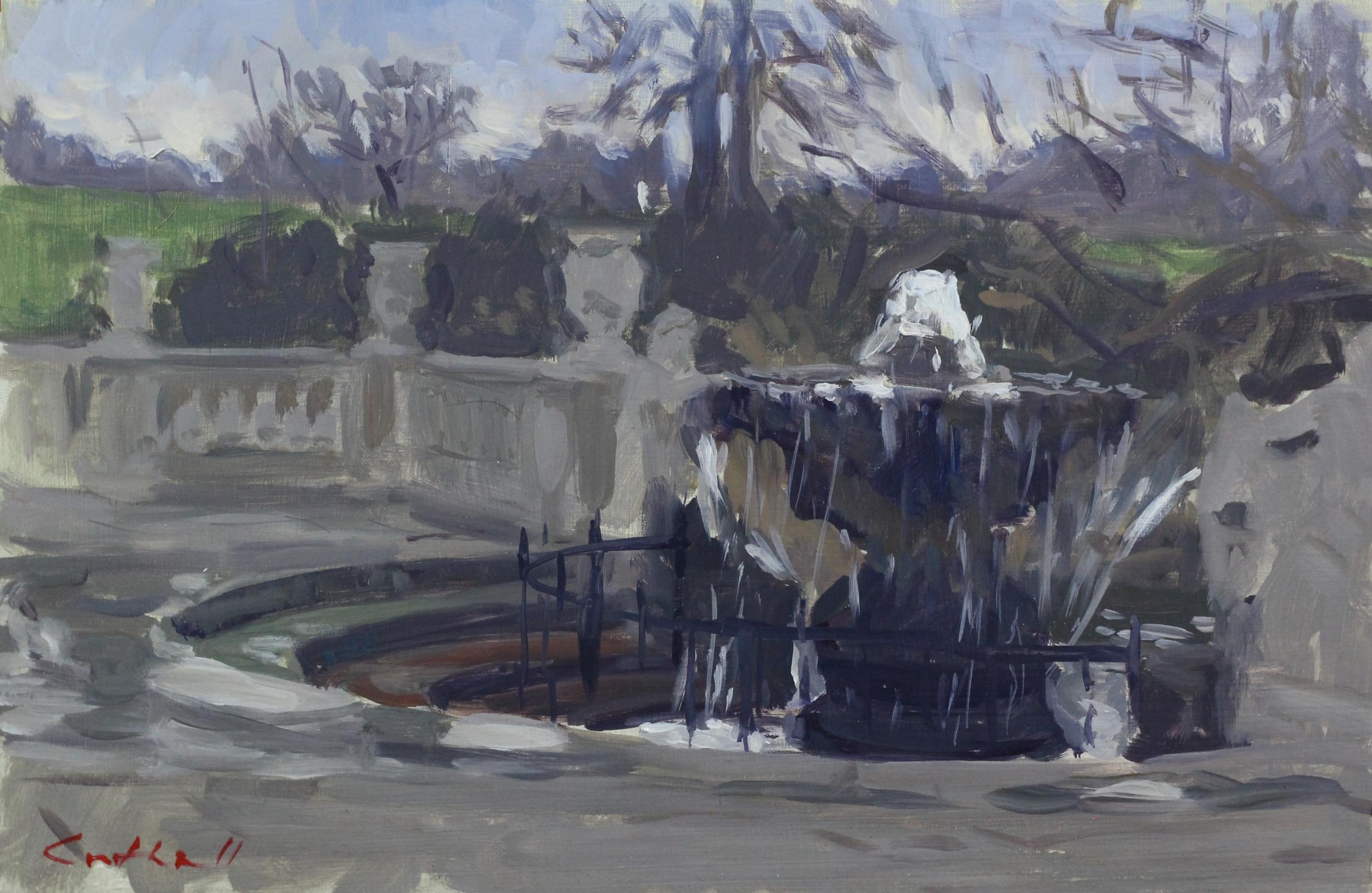 Kensington Garden in Winter Sketch, Oil on Board, 20 x 30cm, 2016