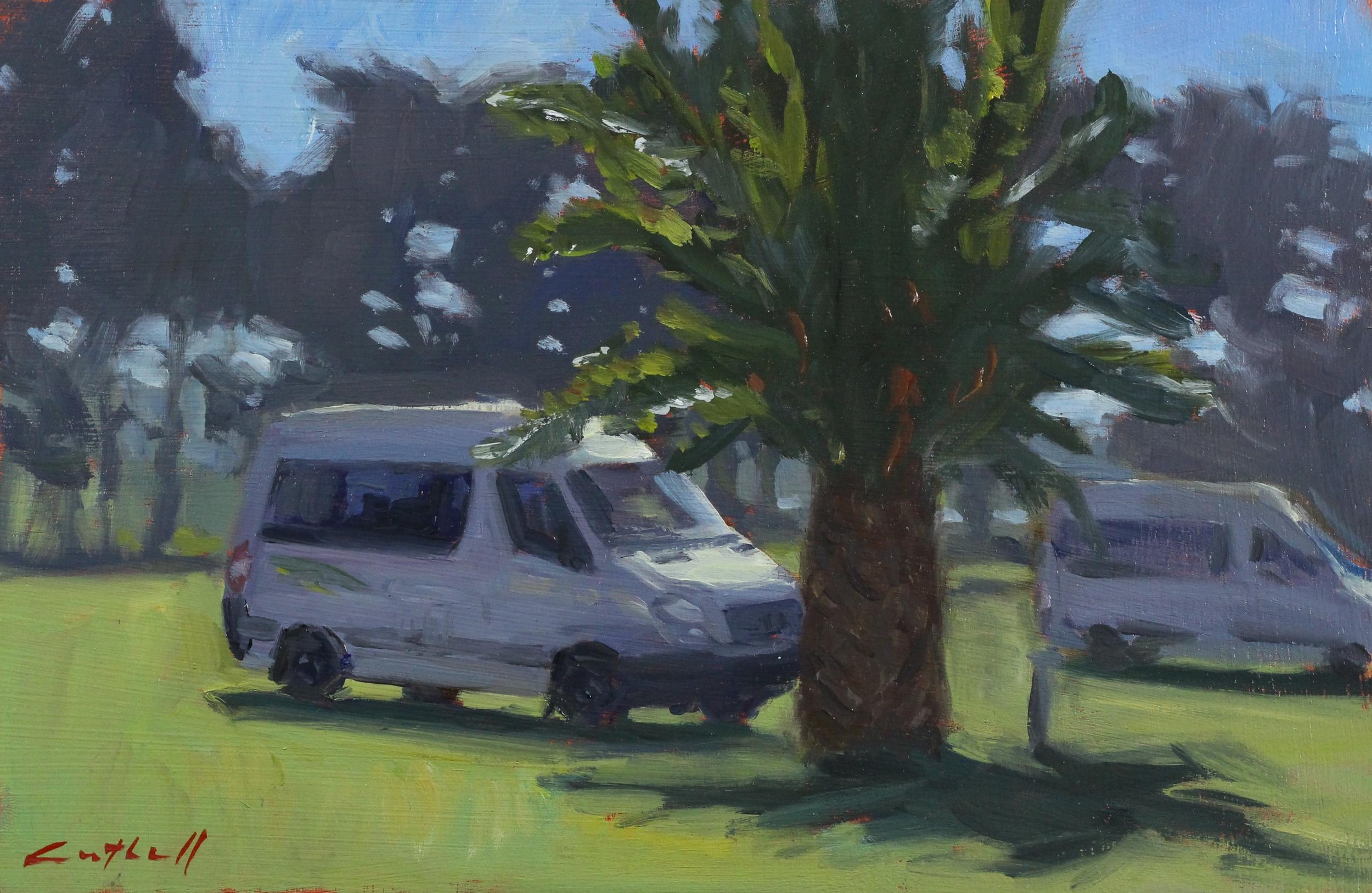 Tolaga Bay Holiday Park Sketch, Oil on Board, 20 x 30cm, 2015