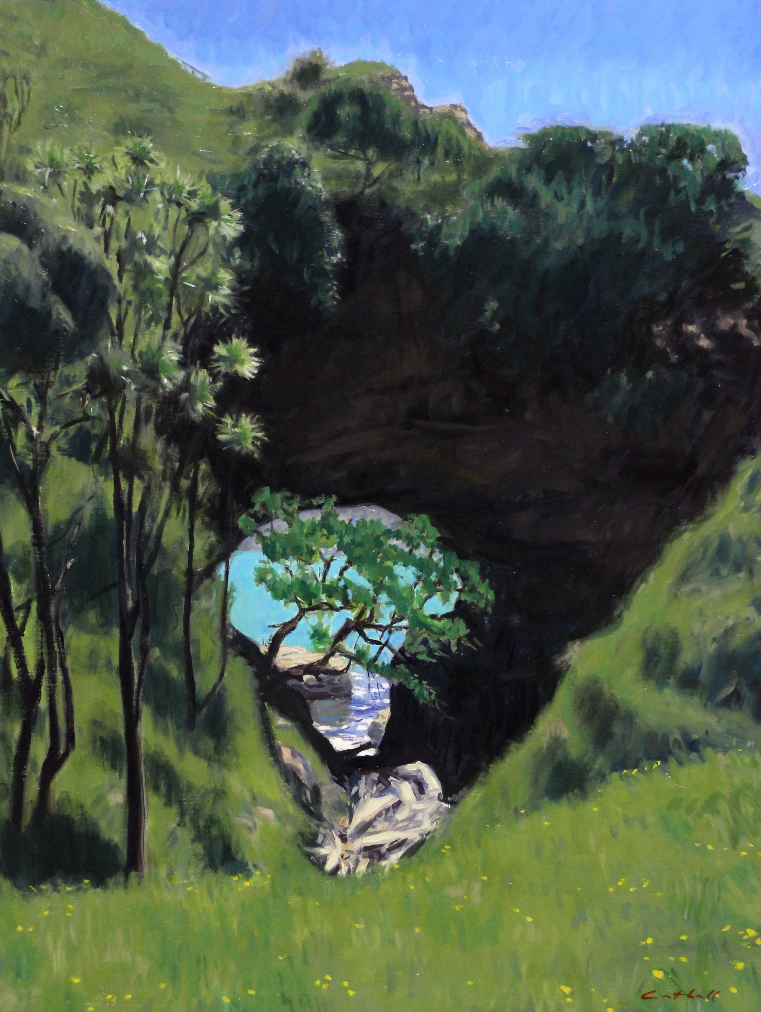 Te Kotere o te Whenua, Oil on Canvas 77 x 58cm, 2017