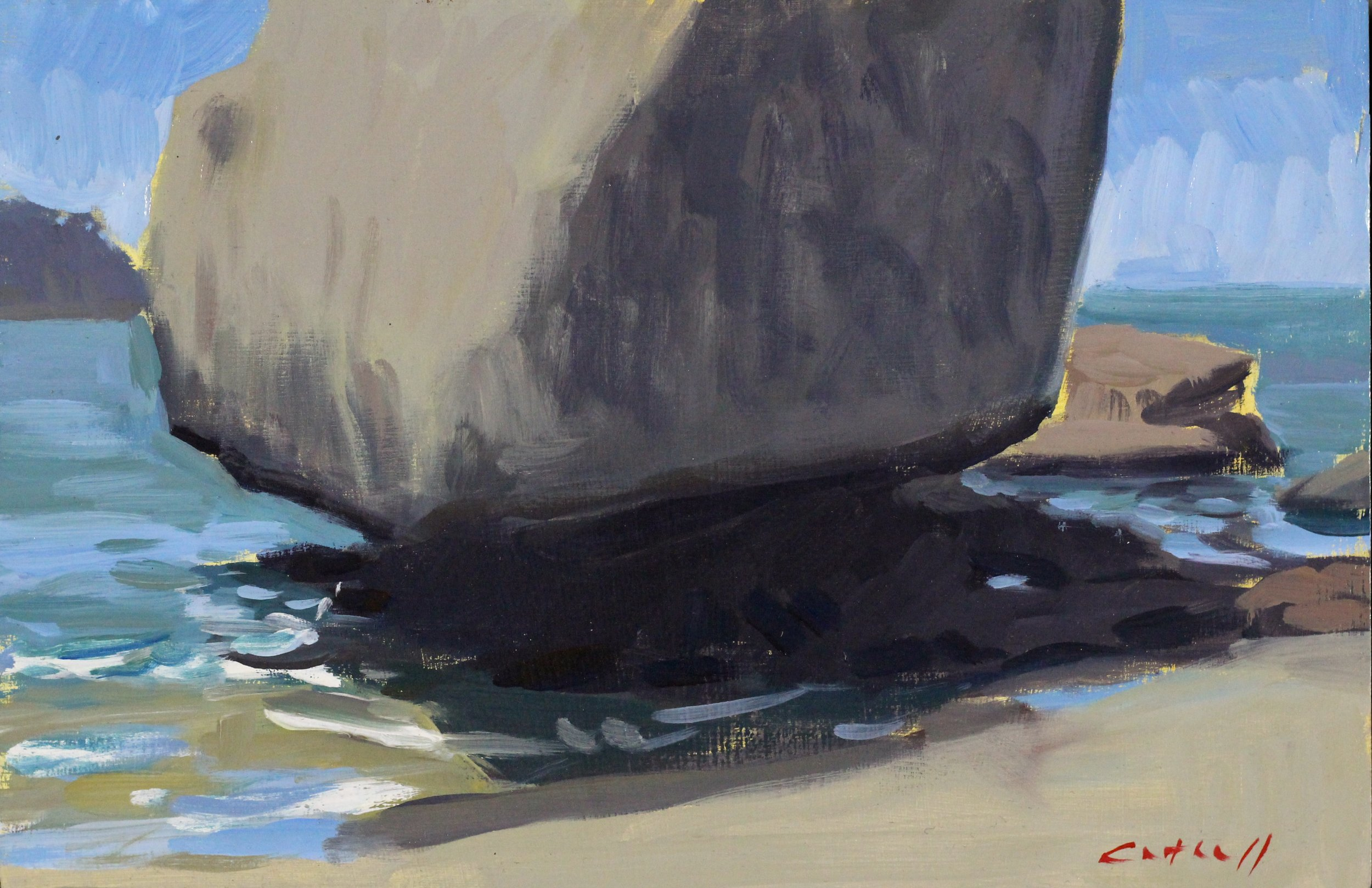 Rocks, Hahei, Oil on Panel, 20 x 30cm 2015