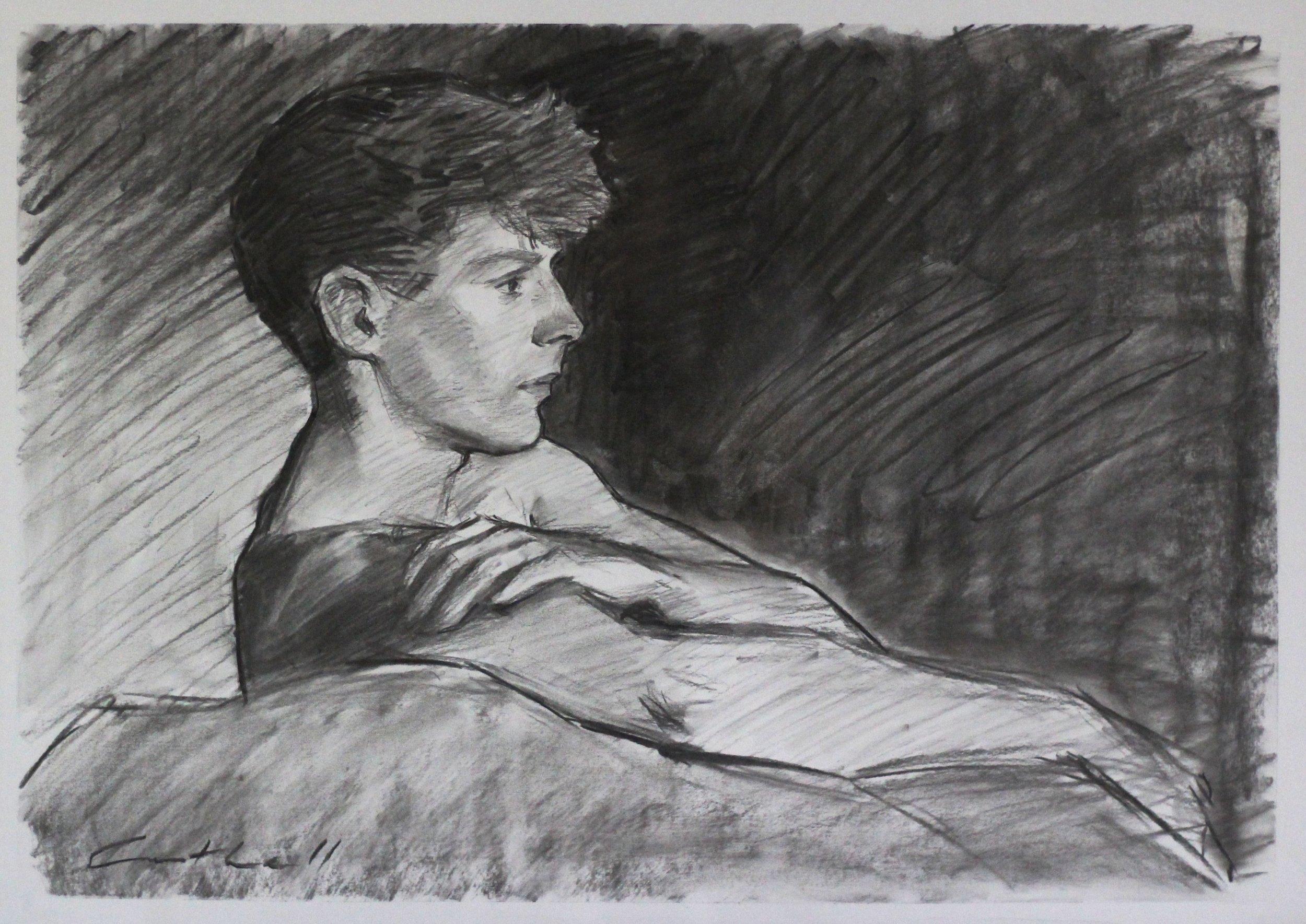 Henrik, Charcoal on Paper, 42 x 60cm, 2017