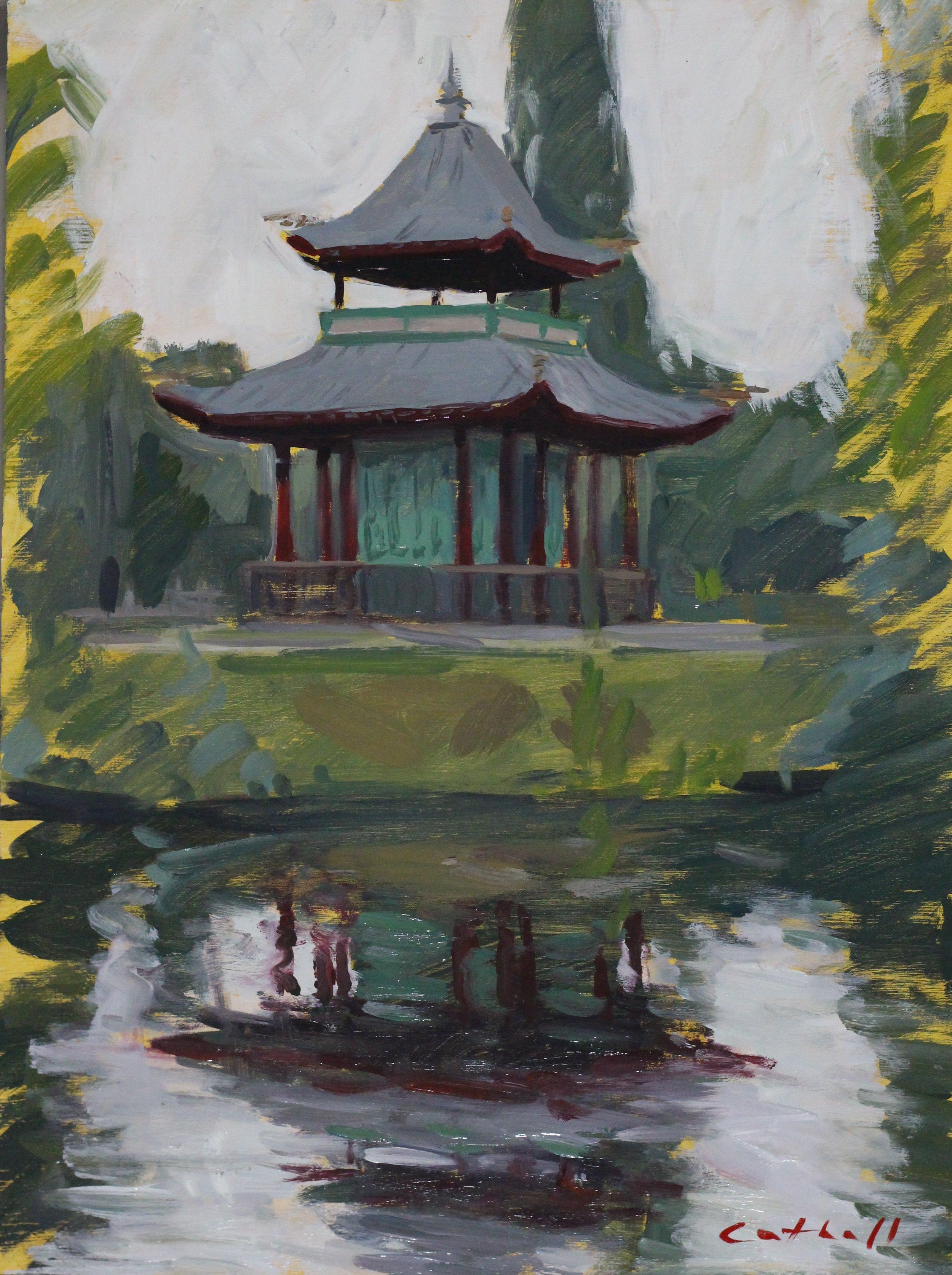 Pagoda, Victoria Park, Oil on Panel, 35 x 25cm, 2017