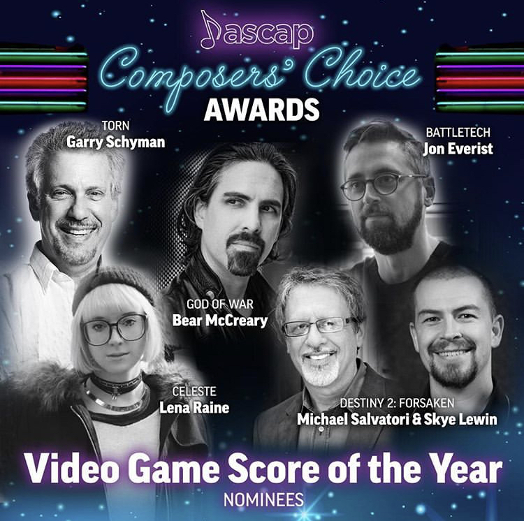 Thrilled and honored to be nominated by my peers in the ASCAP Screen Awards this year for Video Game Score of the Year!