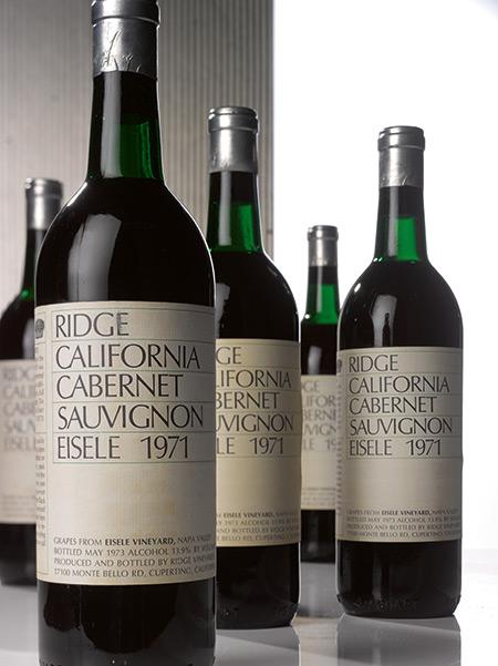 LOT 759.RIDGE, CABERNET SAUVIGNON, EISELE 1971 (10 BOTTLES). ESTIMATE $11,000–15,000.