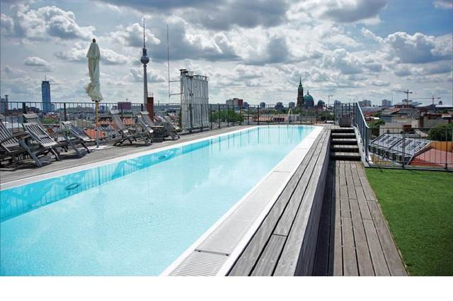 The exterior and pool in a Mitte Penthouse.
