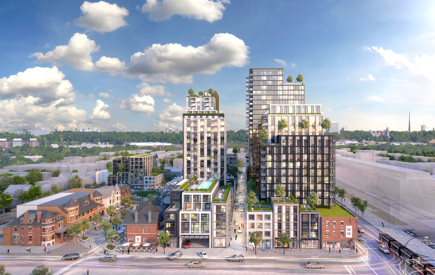 Rendering of the community-oriented reconstruction of Mirvish Village, a local landmark in Toronto.