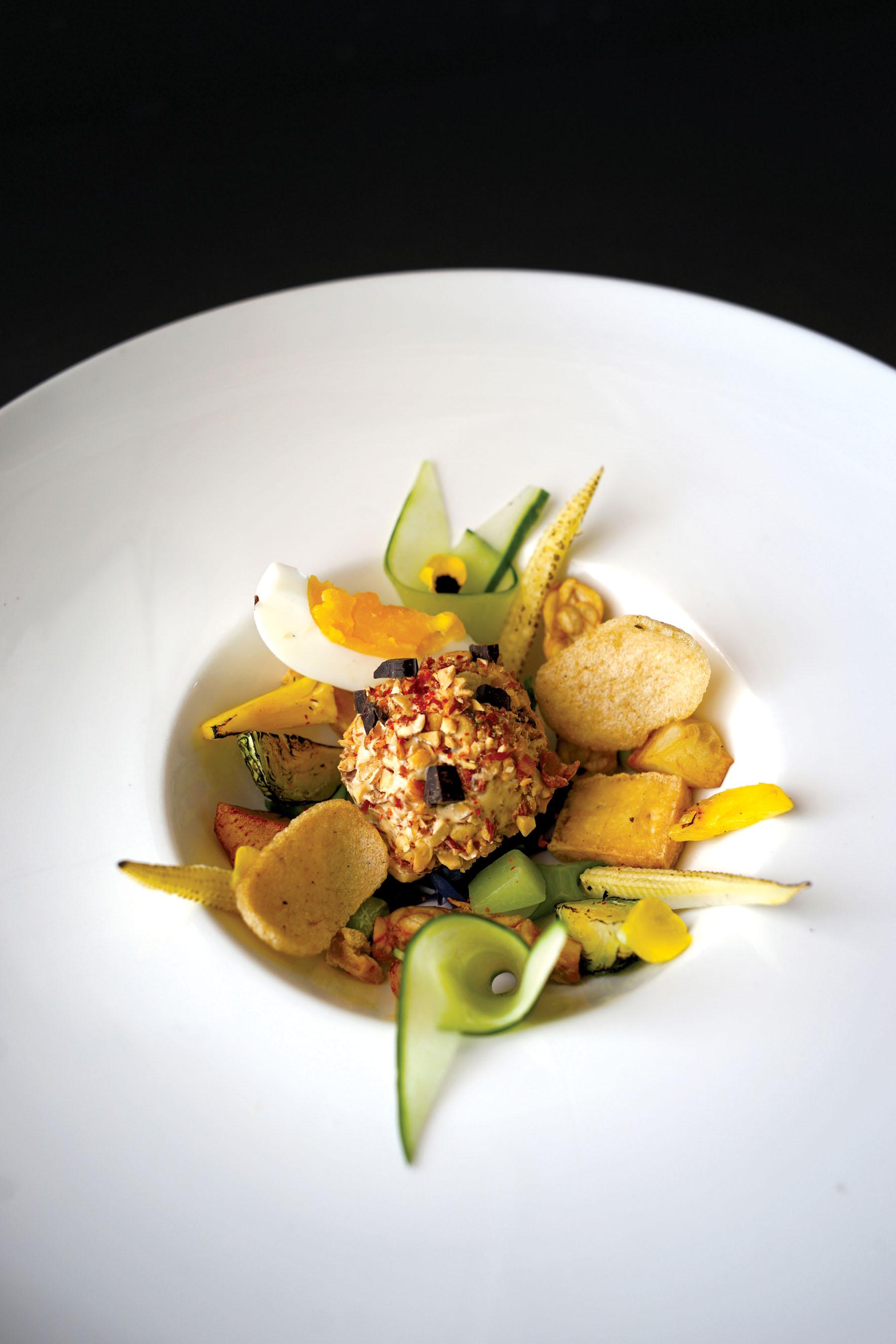 Wild Rocket restaurant specializes in mod-Sin (modern Singaporean) fare, such as gado spicy shrimp & peanut ice cream