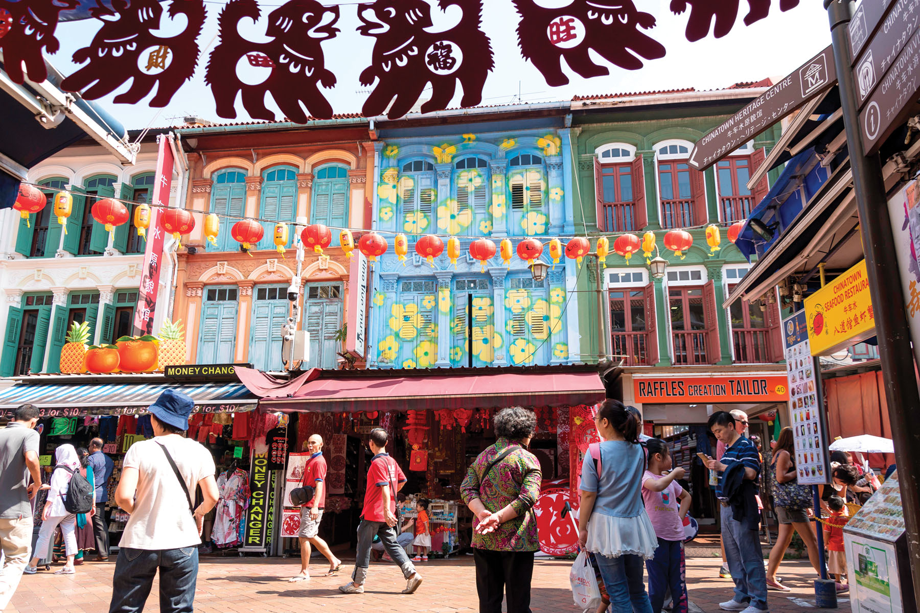Colorful shophouses line the Chinatown, in the Outram district