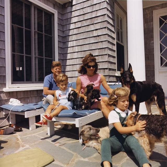 The Kennedy family outside their Hyannis Port, Massachusetts, home in 1963