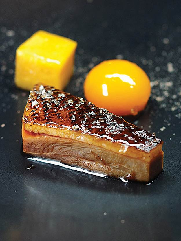 One of Quade's dishes—duck smoked over melaleuca with salted plum and butternut.