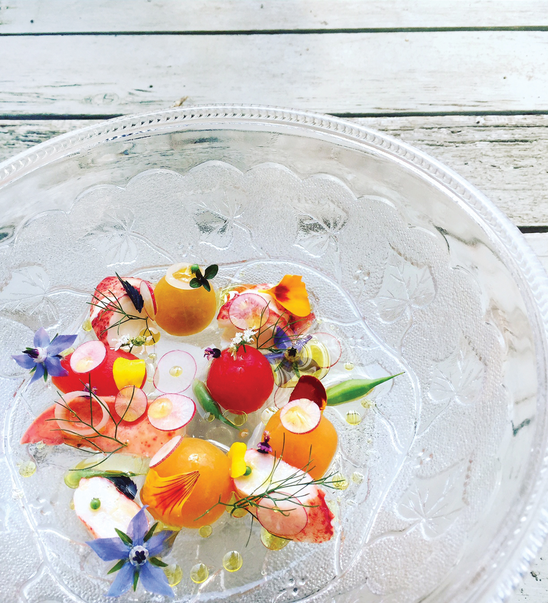 Edible flowers from the garden on the estate enhance innovative dishes created in the kitchen
