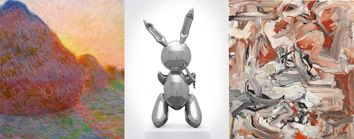 Top lots L-R: Claude Monet,Meules(1890-1891), which sold for $110.1m at Sotheby's; Jeff Koons,Rabbit(1986), which sold for $91.1m at Christie's; and Willem de Kooning, Willem de Kooning,Untitled XVI(1976) which sold for $10m at Phillips. Images courtesy Sotheby's, Christie's Images Ltd. 2019 and Phillips.