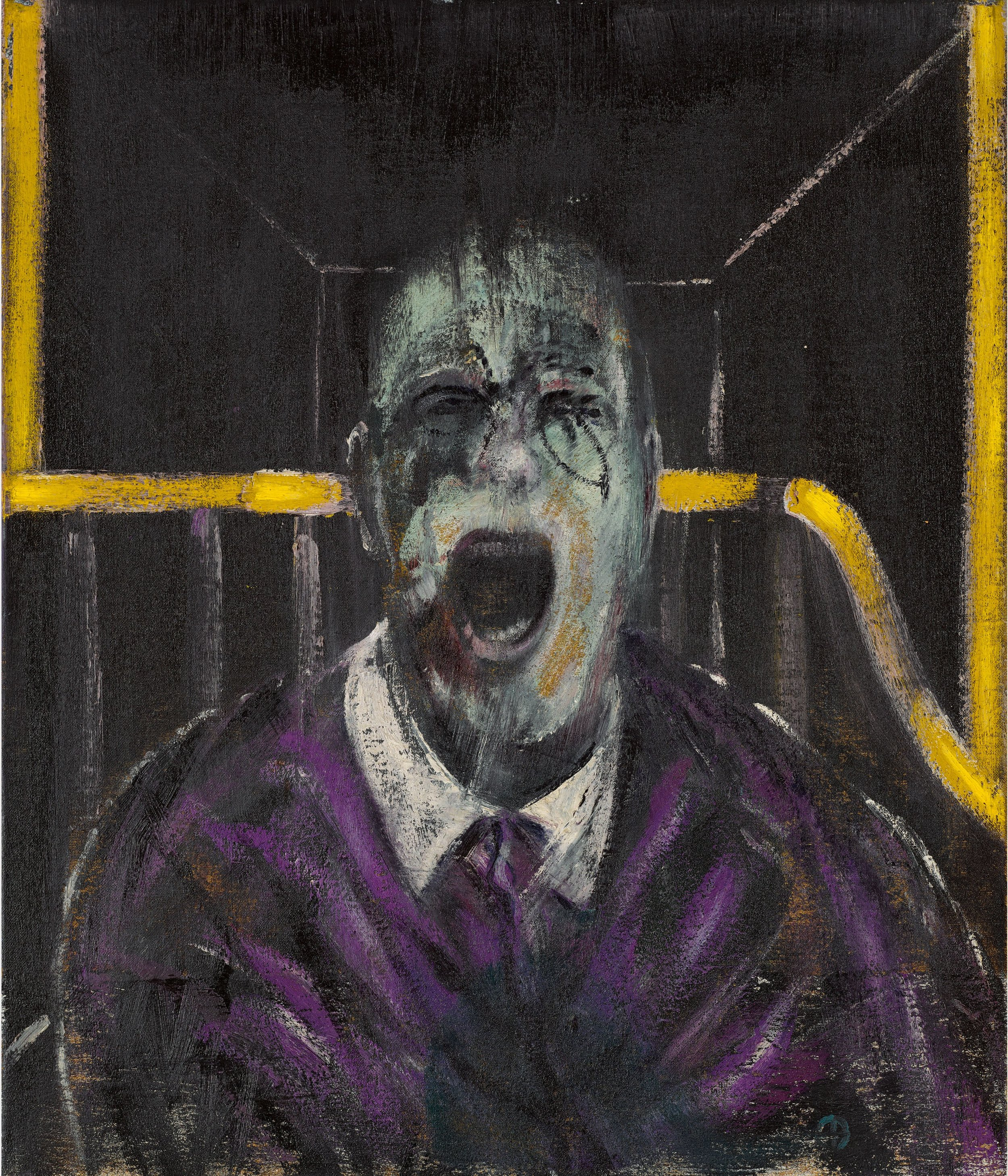 The pain of the postwar world: Francis Bacon'sStudy for a Head(1952), which sold for $50.4m to dealer Christopher Eykyn at Sotheby's came from the collection of Richard E. Lang and Jane Lang Davis. Courtesy Sotheby's