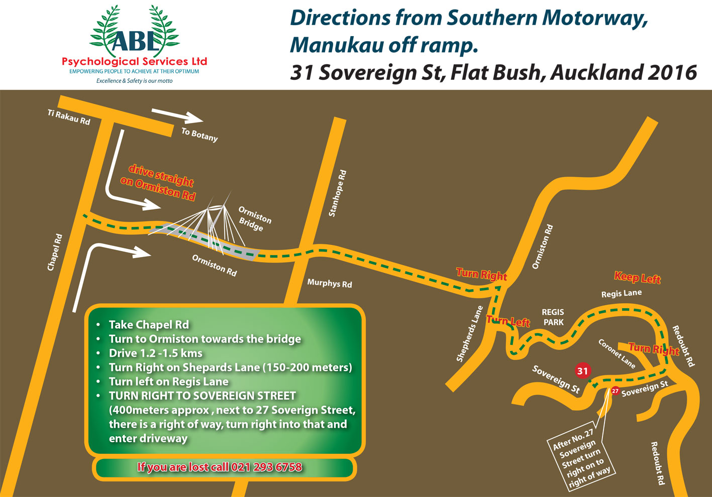 Directions from Ti Rakau Drive & Chapel Road. To download this in pdf format, click  here.