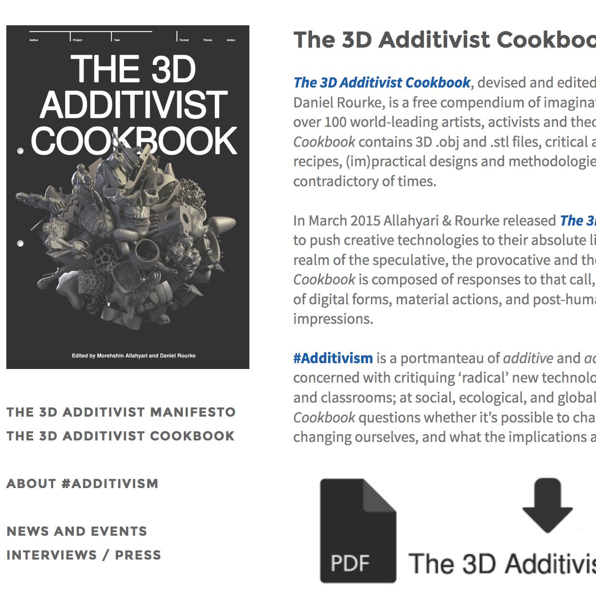 2016: 3D Additivist Cookbook