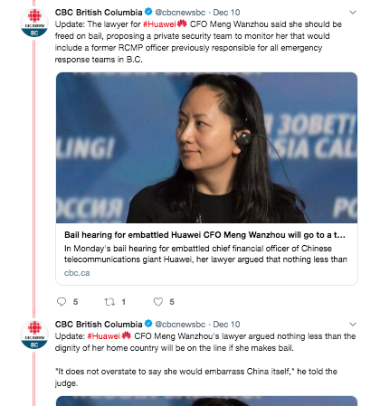 Live Twitter coverage - Our Twitter feed curated the best tweets from our reporters, Jason Proctor and Brian Stewart, who both live-tweeted the hearing. I also pushed out updates every time our web writer updated the file and used a Twitter thread to link to other CBC stories on Huawei, providing our readers more background and context.