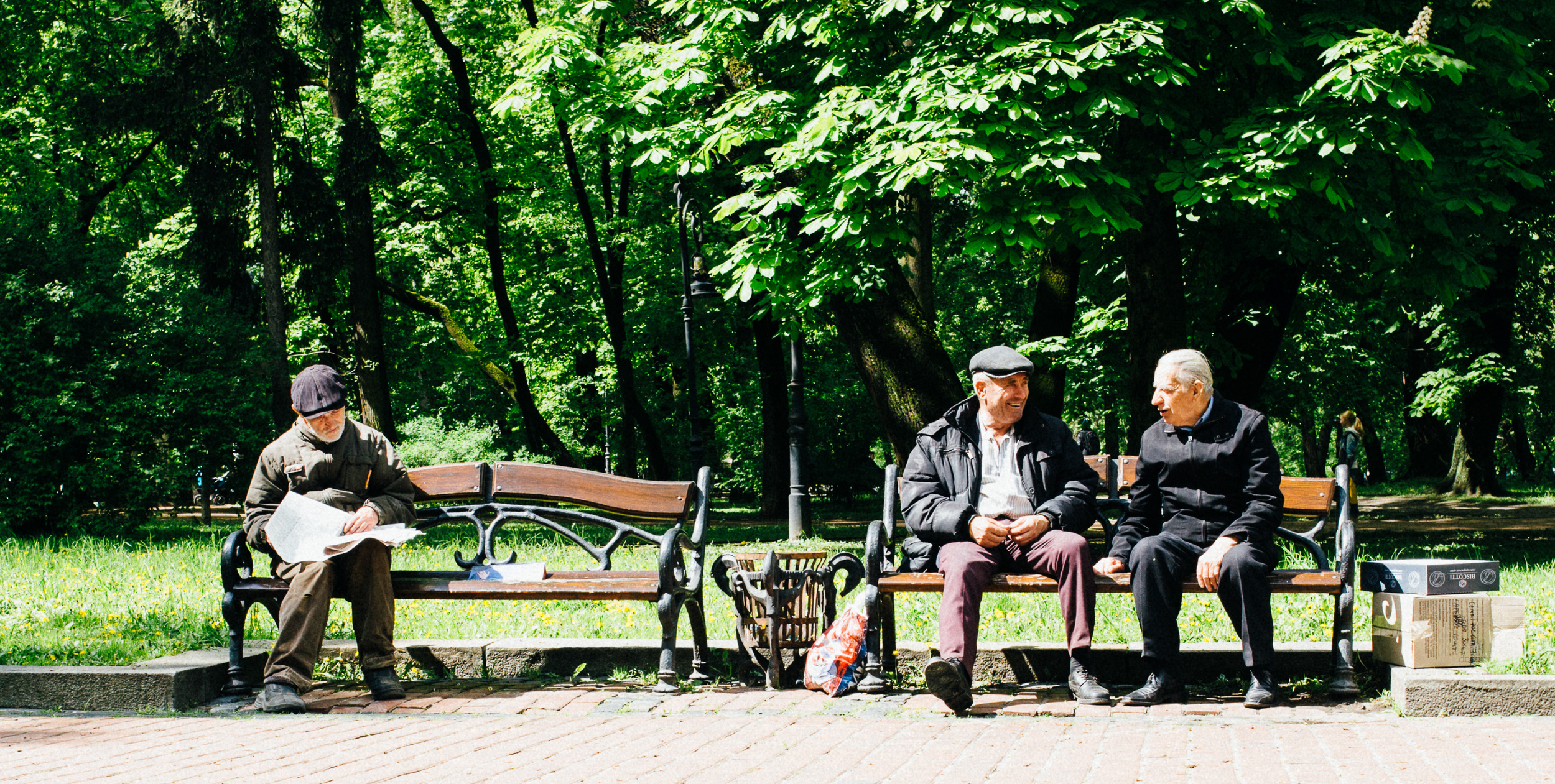 Sharing stories in the park.