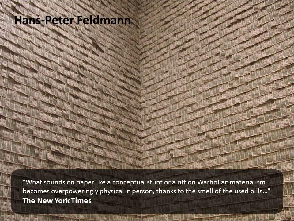 Hans-Peter Feldmann's  Money Walls    http://www.mymodernmet.com/profiles/blogs/guggenheim-museums-100000-room