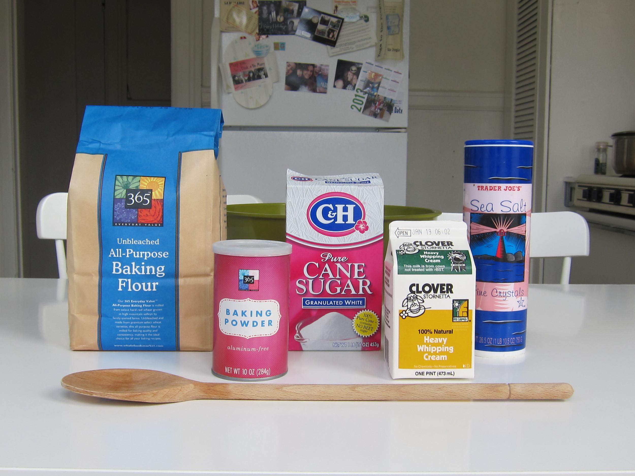 Flour, baking powder, sugar, heavy whipping cream and salt