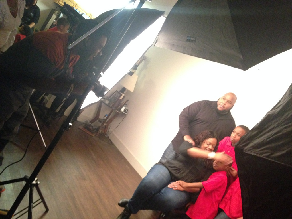 On the set of a family shoot.