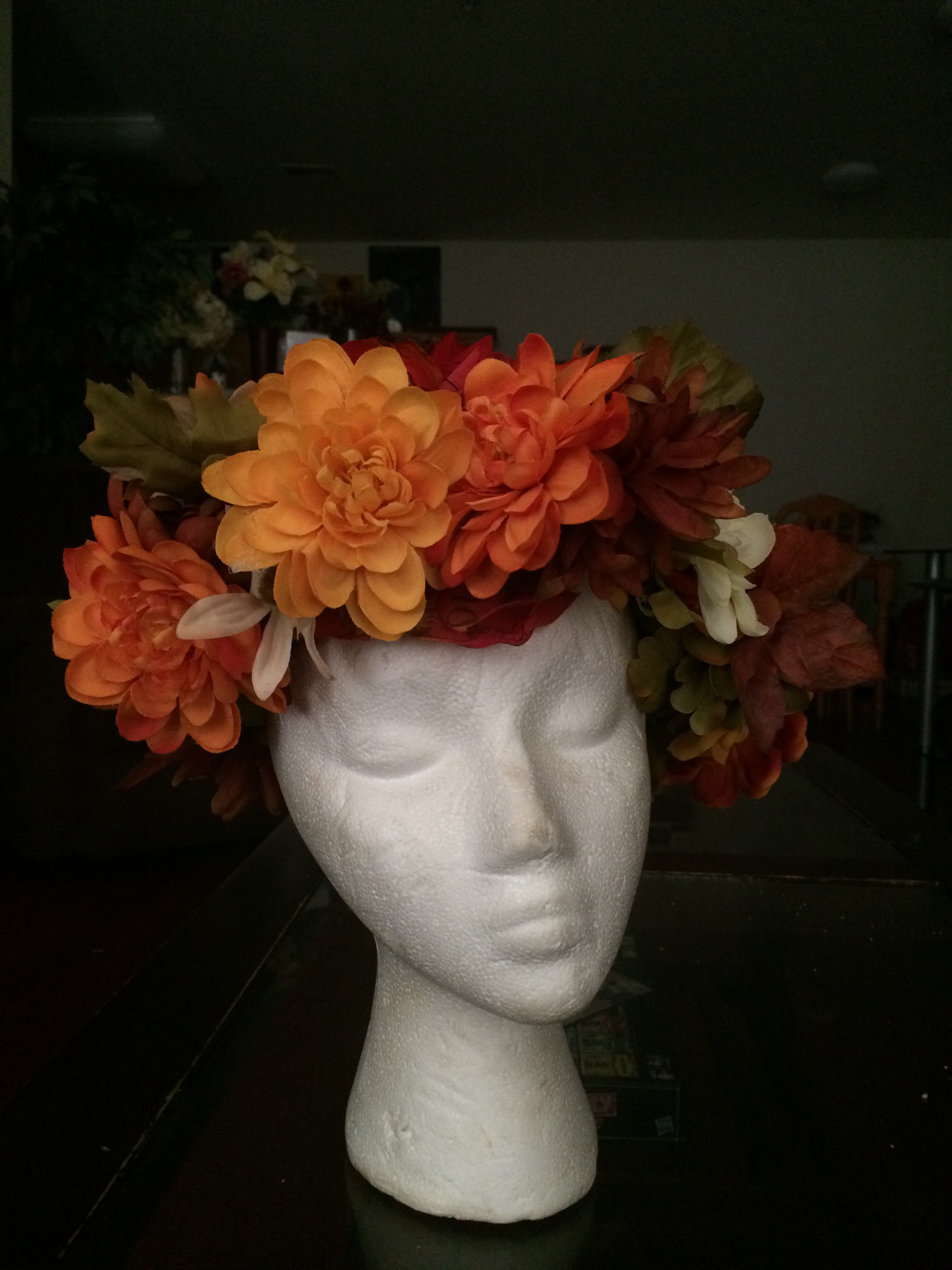 Just finished up the flower Halo Doing some placement on the mannequin.