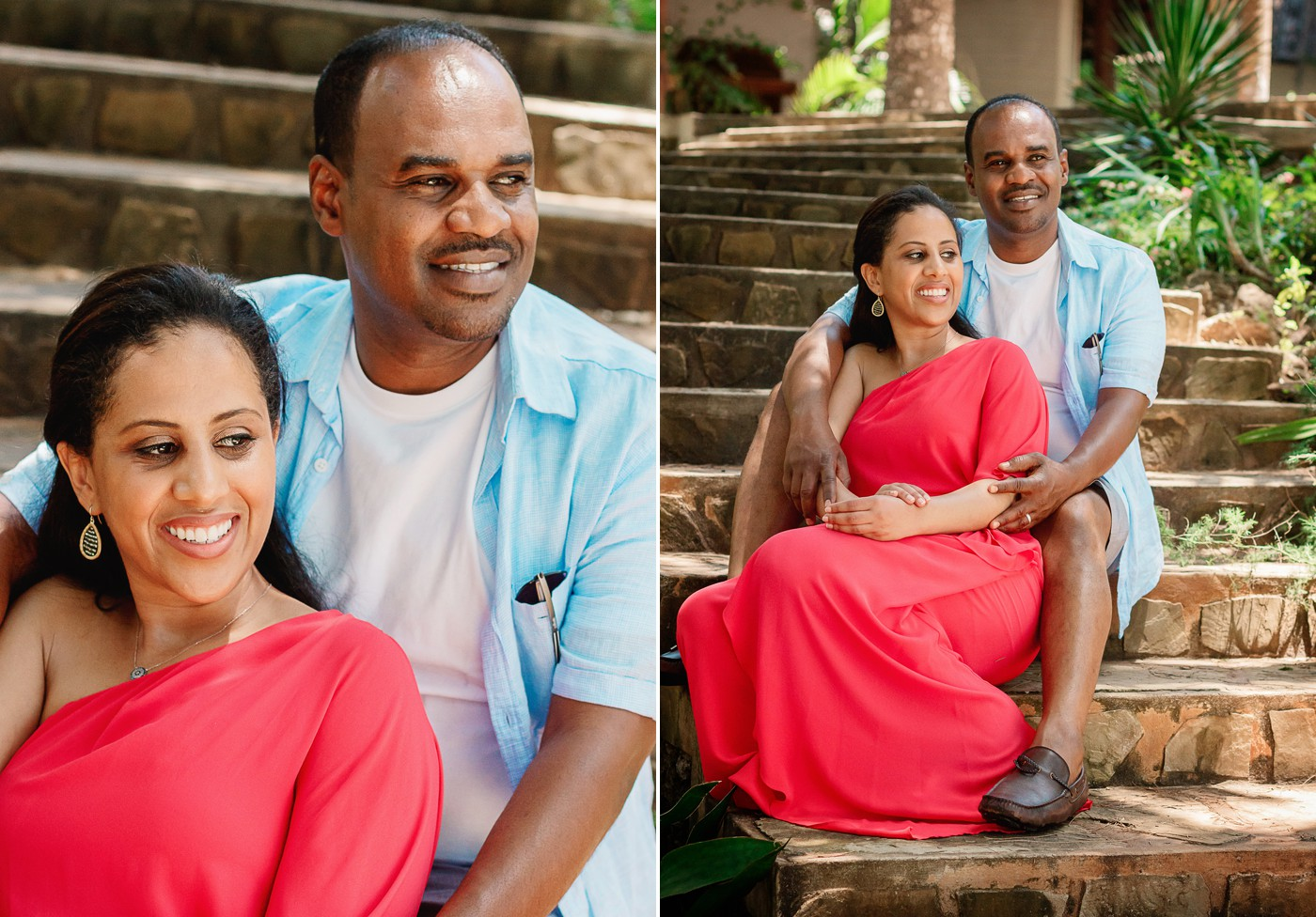 Couple sitting on the steps at Diani Beach engagement session.