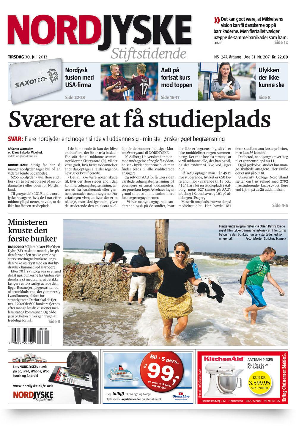 Vi var på forsiden af Nordjyske med en god omtale indeni. 30. juli, 2013