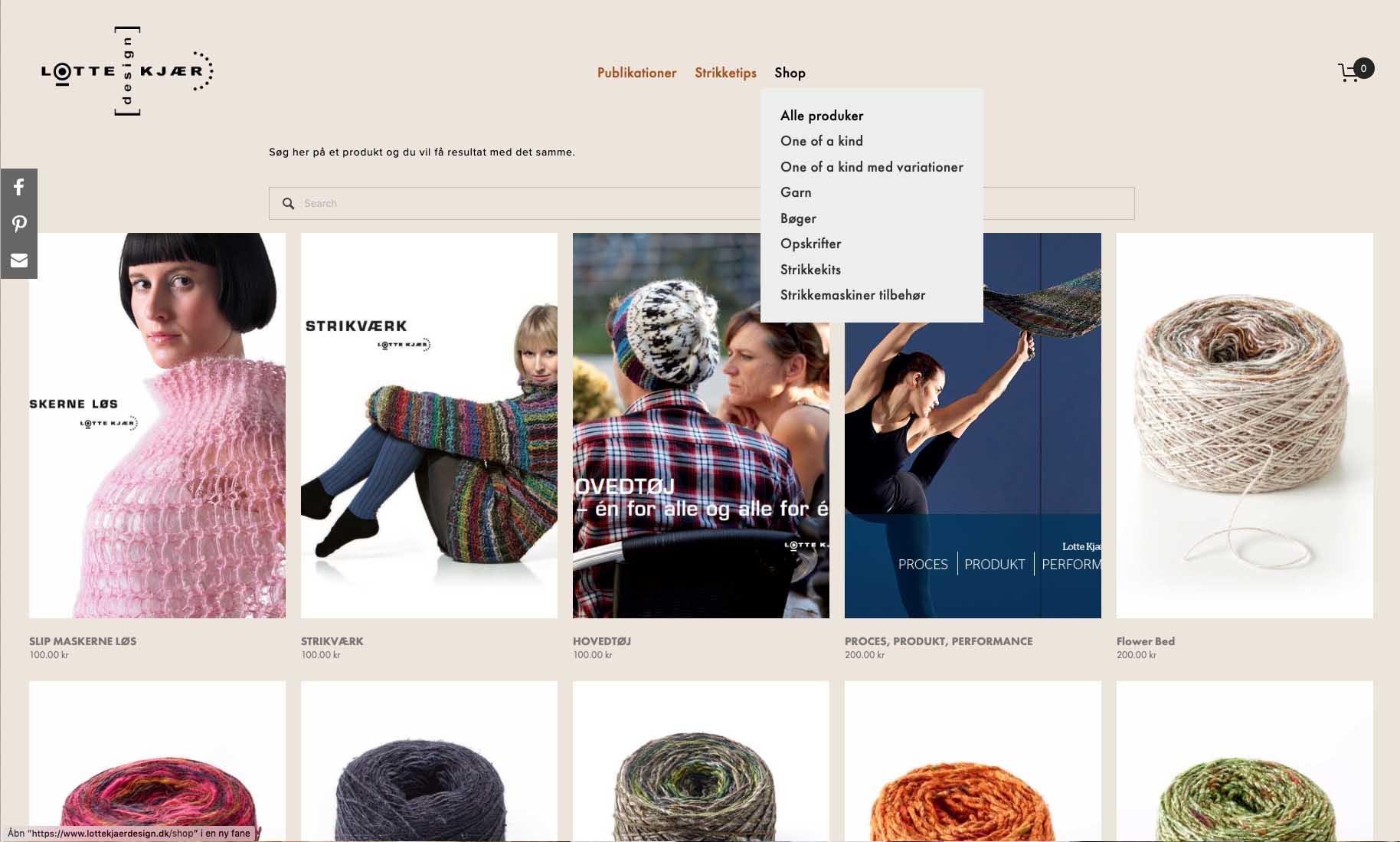 Website og webshop: Lotte Kjær Design
