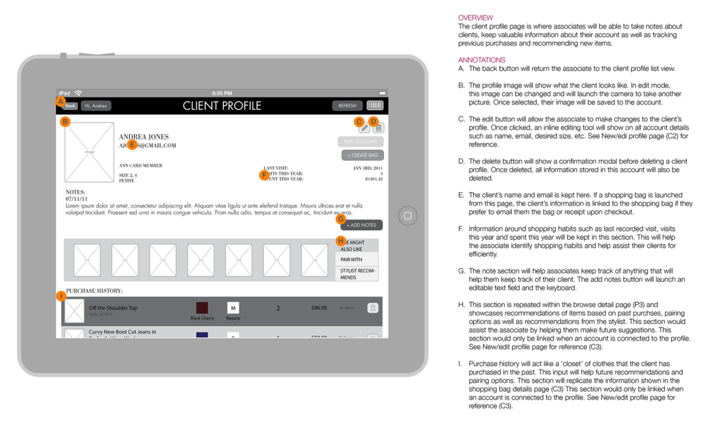 """Wireframe and annotations for customer history — """"Client Profile."""""""