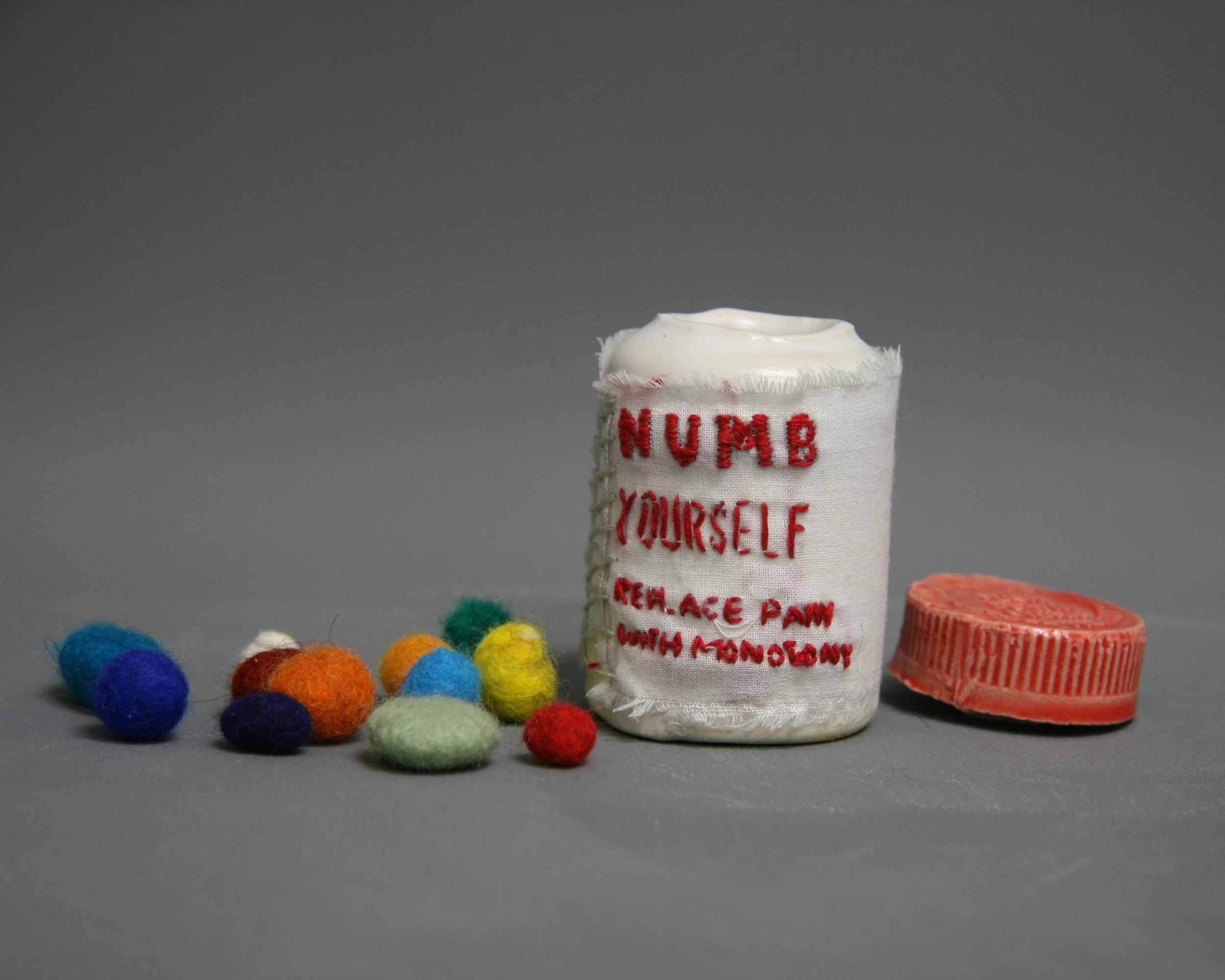 Painkiller Addiction #1 (ceramic, embroidery thread, felt, muslin)