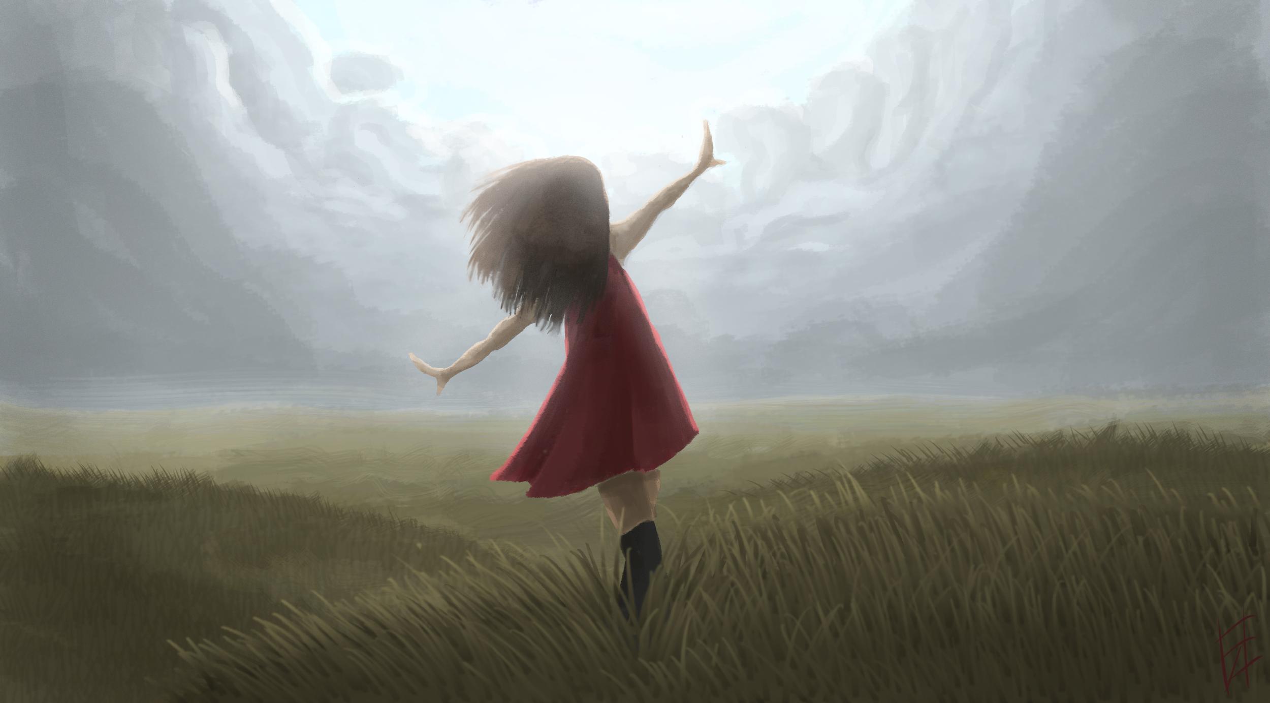 girl walking field